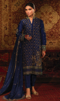 'Angan' is an intricately embroidered dark blue outfit with heavy zardozi work and a touch of contrasting resham. This dress is composed on the theme of mehrab, floral and geometric patterns. A band collar is added to the shirt and is paired with raw silk straight pants with gota lace finishing. The medium silk dupatta features the elaborate zardozi border and chan booti. A customized pouch can be added to the outfit upon request.