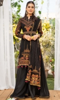 Embroidered Chiffon Shirt Front (1.3 Yards) Embroidered Chiffon Shirt Back (1.3 Yards) Embroidered Chiffon Sleeves 0.60 Yards) Embroidered Chiffon Dupatta (2.36 Yards) Embroidered Chiffon Dupatta Border Dyed Rawsilk Trouser (2.5 Yards) Dyed Cotton Silk Linning (2.5 Yards) 5 golden balls