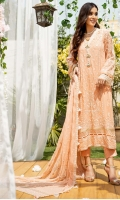 Embroidered Chiffon Shirt Front (1.1 Yards) Embroidered Chiffon Shirt Back (1.1 Yards) Embroidered Chiffon Neck Patti Embroidered Chiffon Front + Back Border Embroidered Chiffon Sleeves (0.6 Yards) Embroidered Chiffon Dupatta (2.5 Yards) Embroidered Chiffon Dupatta Border Dyed Rawsilk Trouser (2.5 Yards) Dyed Cotton Silk Linning (2.5 Yards) 3 embroidered buttons