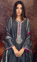 'ZEB'' is an appealing charcoal grey ensemble crafted with ivory embroidery, glittering with delicate kora work on the long neckline and sleeves with intricate lines of hand embroidery. The pure raw silk shirt is paired with pure silk screen printed dupatta with a hint of magenta in the finishing making it a perfect outfit for a formal events like an engagement.