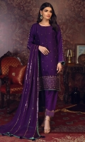 'Meher' is an ethereal piece of craftmanship. The rich deep purple hue is bound to get attention as it sparkles through gold kora, dabka, zari and aari work on the daman creating a perfect attire. Featuring a pure chiffon purple tone embellished dupatta. It is enhanced with our signature screen-printed finishing on sleeves, daman and dupatta.