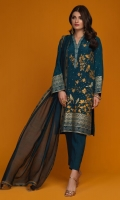 'Mirha' a beautiful teal blue raw silk with contemporary gold and silver screen print detailed with kora, dabka and resham work. It is paired with a beautiful teal khaddi net dupatta with screen printed finishing and hand embellishments.