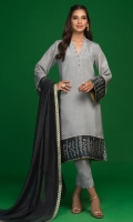 'Vasl' a contemporary light grey raw silk shirt with slightly belled sleeves. It is adorned with screen printed dark grey borders hand embellished with resham, kora and dabka. The neckline is detailed with scallops and hand embellishments all around. Screen printed finishing is giving for more finesse. It is paired with dark grey khaddi net dupatta with screen printed finishing and hand made loops.