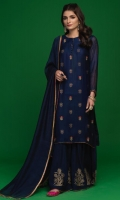 'Elif' make a bold style statement , a khaddi net outfit in navy blue with gold screen print and beautiful work of kora, dabka and resham. It is paired with a matching khaddi net dupatta with lace and handmade finishing, along with screen printed raw silk dhaka pajama.