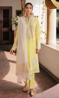EMBROIDERED SHIRT FRONT (LAWN) 0.67 METERS DYED SHIRT BACK (LAWN) 1.00 METERS EMBROIDERED SHIRT SLEEVES (LAWN) 0.67 METERS DYED SIDE EXTENSIONS (LAWN) 0.34 METERS DYED TROUSER (COTTON) 2.50 METERS YARN DYED DUPATTA (JACQUARD) 2.50 METERS EMBROIDERED FRONT & BACK BORDER (ORGANZA) 2.00 METERS