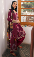 EMBROIDERED SHIRT FRONT (LAWN) 1.20 METERS DYED JACQUARD SHIRT BACK (COTTON) 1.20 METERS EMBROIDERED SHIRT SLEEVES (LAWN) 1.05 METERS EMBROIDERED SIDE EXTENSIONS (LAWN) 1 PAIR PASTE PRINTED TROUSER (COTTON) 2.50 METERS EMBROIDERED SLEEVES BORDER (ORGANZA) 1.00 METERS DIGITAL PRINT DUPATTA (PURE SILK) 2.50 METERS EMBROIDERED HEM BORDER (ORGANZA) 1.80 METERS PRINTED FACING (LAWN) 0.50 METERS