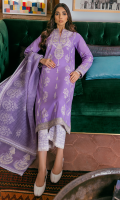 EMBROIDERED SHIRT FRONT (LAWN) 1.00 METERS DYED SHIRT BACK (LAWN) 1.00 METERS EMBROIDERED SHIRT SLEEVES (LAWN) 0.67 METERS SCREEN PRINTED TROUSER (COTTON) 2.50 METERS FOIL PRINTED DUPATTA (JACQUARD) 2.50 METERS EMBROIDERED NECKLINE PATCH (ORGANZA) 1 PIECE EMBROIDERED FRONT & BACK BORDER (ORGANZA) 2.00 METERS EMBROIDERED DUPATTA PALLU (ORGANZA) 2 PIECES EMBROIDERED SHOULDER PATTI (ORGANZA) 2.50 METERS