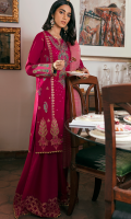 EMBROIDERED SHIRT FRONT (LAWN) 0.67 METERS EMBROIDERED SHIRT BACK (LAWN) 1.00 METERS EMBROIDERED SHIRT SLEEVES (LAWN) 0.67 METERS DYED SIDE EXTENSIONS (LAWN) 0.34 METERS BLOCK PRINT TROUSER (COTTON) 2.50 METERS DYED DUPATTA (JACQUARD) 2.50 METERS EMBROIDERED FRONT & BACK BORDER (SATIN) 2.00 METERS