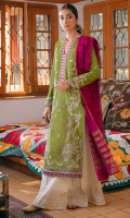 EMBROIDERED SHIRT FRONT (LAWN) 0.67 METERS DYED SHIRT BACK (LAWN) 1.00 METERS EMBROIDERED SHIRT SLEEVES (LAWN) 0.67 METERS DYED SIDE EXTENSIONS (LAWN) 0.34 METERS BLOCK PRINTED TROUSER (COTTON) 2.50 METERS YARN DYED DUPATTA (JACQUARD) 2.50 METERS EMBROIDERED NECKINE PATCH (ORGANZA) 1 PIECE EMBROIDERED FRONT & BACK BORDER (ORGANZA) 2.00 METERS EMBROIDERED SLEEVE BORDER (ORGANZA) 1.30 METERS