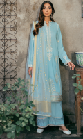 EMBROIDERED SHIRT FRONT (LAWN) 0.67 METERS EMBROIDERED SHIRT BACK (LAWN) 1.00 METERS EMBROIDERED SHIRT SLEEVES (LAWN) 0.67 METERS DYED SIDE EXTENSIONS (LAWN) 0.34 METERS DYED TROUSER (COTTON) 2.50 METERS DYED DUPATTA (JACQUARD ORGANZA) 2.50 METERS EMBROIDERED FRONT & BACK BORDER (ORGANZA) 2.00 METERS