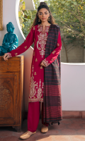 EMBROIDERED SHIRT FRONT (LAWN) 0.67 METERS DYED SHIRT BACK (LAWN) 1.00 METERS EMBROIDERED SHIRT SLEEVES (LAWN) 0.67 METERS EMBROIDERED SIDE EXTENSIONS (LAWN) 0.34 METERS DYED TROUSER (COTTON) 2.50 METERS YARN DYED DUPATTA (COTTON NET) 2.50 METERS EMBROIDERED FRONT & BACK BORDER (ORGANZA) 2.00 METERS