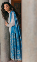 DYED JACQUARD DUPATTA (COTTON) 2.50 METERS PRINTED SHIRT FRONT (SLUB LAWN) 1.20 METERS PRINTED SHIRT BACK (SLUB LAWN) 1.20 METERS PRINTED SHIRT SLEEVES (SLUB LAWN) 0.65 METERS PRINTED FACING (LAWN) 0.50 METERS PASTE PRINTED TROUSER (COTTON) 2.50 METERS EMBROIDERED NECKLINE (ORGANZA) 1 PIECE EMBROIDERED HEM BORDER (ORGANZA) 1.40 METERS EMBROIDERED TROUSER BORDER (ORGANZA) 2.75 METERS