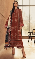 Embroidered Front (Khaddar) 1.3 Meters                                                          Embroidered Sleeves (Khaddar) 1.3 Meters Embroidered Front & Back Border (Khaddar) 2 Meters Dyed Back (Khaddar) 1.3 Meters Dyed Trouser (Khaddar) 2.5 Meters Digital Printed Shawl (Cotton Net) 2.5 Meters