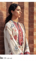 Embroidered Front (Khaddar) 1.3 Meters Embroidered Neckline (Satin) 1 Piece Embroidered Sleeves (Khaddar) 1.3 Meters Embroidered Sleeve Border (Satin) 1 Meter Embroidered Front Border (Satin) 1 Meter Dyed Back (Khaddar) 1.3 Meters Dyed Trouser (Khaddar) 2.5 Meters Digital Printed Shawl (Cotton Net) 2.5 Meters
