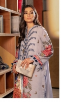 Embroidered Front (Khaddar) 1.3 Meters Embroidered Sleeves (Khaddar) 1 Pair Embroidered (Front+Back) Border (Khaddar) Sleeves 3 Meters Dyed Back (Khaddar) 1.3 Meters Dyed Trouser (Khaddar) 2.5 Meters Digital Printed Shawl (Cotton Net) 2.5 Meters