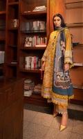 Embroidered Front (Khaddar) 1.3 Meters Dyed Sleeves (Khaddar) 0.66 Meter Embroidered Shifley Sleeves Border (Khaddar) 1 Meter Embroidered Front & Back Border (Khaddar) 2 Meters Dyed Back (Khaddar) 1.3 Meters Dyed Trouser (Khaddar) 2.5 Meters Digital Printed Shawl (Cotton Net) 2.5 Meters