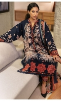 Embroidered Front (Khaddar) 1.3 Meters Embroidered Sleeves (Khaddar) 1.3 Meters Embroidered Front Border (Khaddar) 1 Meter Embroidered Back & Sleeve Border (Khaddar) 2 Meters Dyed Back (Khaddar) 1.3 Meters Dyed Trouser (Khaddar) 2.5 Meters Digital Printed Shawl (Cotton Net) 2.5 Meters
