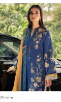 Embroidered Front (Khaddar) 1.3 Meters Embroidered Sleeves (Khaddar) 1.3 Meters Embroidered Front & Back Border (Satin) 2 Meters Embroidered Sleeve Border (Satin) 1 Meter Dyed Back (Khaddar) 1.3 Meters Dyed Trouser (Khaddar) 2.5 Meters Digital Printed Shawl (Cotton Net) 2.5 Meters