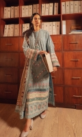 Embroidered Front (Khaddar) 1.3 Meters Embroidered Sleeves (Khaddar) 1.3 Meters Embroidered Front Border (Khaddar) 1 Meter Dyed Back (Khaddar) 1.3 Meters Dyed Trouser (Khaddar) 2.5 Meters Digital Printed Shawl (Cotton Net) 2.5 Meters