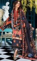 -PRINTED SHIRT FRONT(LAWN) 1.20 meters -PRINTED SHIRT BACK (LAWN) 1.20 meters - PRINTED SHIRT SLEEVES (LAWN) 0.65 meters -DYED TROUSER (COTTON) 2.50 meters -EMBROIDERED TROUSER PATCH (ORGANZA) 1.65 meters -EMBROIDERED NECKLINE PATTI (SATIN) 1.30 meters -DIGITAL PRINTED DUPPATA (VOILE) 2.50 meters