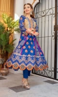 Royal blue lawn A-line paneled kameez with embroidered neckline and bodice in tilla and thread embroidery. Embroidered kameez and sleeves in orange hued motifs. Gold dust printed scalloped daaman with charma dori.  3 Pieces Stitched outfit