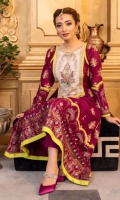 Faalsa colored high-low hem style embroidered kameez with block print style arch shaped daaman flare border and cuffs on sleeves, lime green edging in contrast along with blingy studs on gold silver print. Intricately embellished neckline over on white base multi-colored embroidery.   3 Pieces Stitched outfit