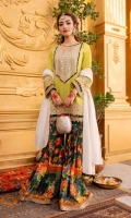 Lime green self embossed lawn kameez with embroidered and embellished neckline, daaman and cuffs edged with gota kinari and printed borders. Paired with digitally printed cambric cotton gharara pants and cotton jacquard dupatta.  3 Pieces Stitched outfit
