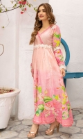 Rose pink pleated maxi with floral tulip print in hues of pink. Detailed sleeves and bodice with textured white lace.  Frock Only