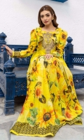 Vibrant yellow maxi with sunflower print all over, textured motif with pearl embellishment on neckline along with hand-stitched ruffles.  Frock only