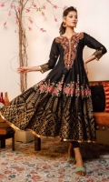 Black lawn flared pishwas with floral theme dust print in multi colors and gold all around flare. Double embroidered neckline and back in rust tones.  3 pieces stitched outfit