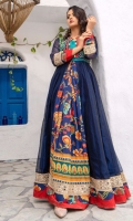 Pure organza gown in a beautiful navy blue shade with printed georgette mid panel, embroidered bolero in beautiful shades of turquoise edged with solid red fabric and gota crescents. Daaman flare and sleeves bordered with gota textured embroidery and printed scallops along with red edging.  1 piece outfit