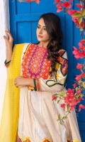 Ivory gold jacquard flared top with vibrant neckline in orange magenta all hand embellished with pearl and beaded details. Patchworked sleeves and daaman flare border in similar print. Paired with matching jacquard trousers  3 pieces Stitched Suit