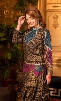 These matching separates are a fusion of chunri print in a modern color palette. Black lawn base with gold dust print kameez adorned with magenta turquoise ascents and charma dori paired with flared sharara in same elements.  2 Pieces Stitched outfit