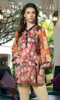 Printed Front, Back & Sleeves Boat Neck Full Sleeves Short Length – 32 Inches
