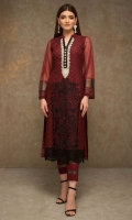 Exude glamour in this alluring Red outfit embellished with silver kora dabka and silk embroidery. Complete the look with cotton silk pants embellished with organza borders.