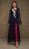 Capturing the essence of an ethereal garden, this dress exemplifies traditional artistry technique and contemporary design sensibilities. Beautified with floral thread embroidery this dress is coordinated with straight silk pants.