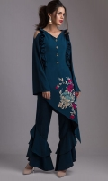 This oriental inspired teal; asymmetrical georgette top with vibrant floral embroidery is a trendsetter. It is enhanced by ruffles on the neckline and frilled pants