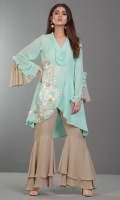 This alluring aqua chiffon shirt with Victorian inspired embroidery embellished in Swarovski pearls and 3d flowers adding a touch of luxe to the outfit is perfect for this season. Paired with ruffled sleeves and frill pants, this is the perfect summer ensemble.