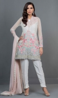 This beautiful ensemble is an ethereal amalgamation of pastels. The mix of ivory with pink and mint embroidery creates a perfect look for the summer. The outfit is enhanced with embroidery in beautiful 3D flowers and butterflies. It comes with ruffled pants and powder pink sequined spray dupatta.