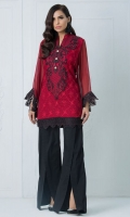 Look alluring in this rouge red kaftan with black embroidered neckline enhanced with embroidery on the daaman and sleeves.
