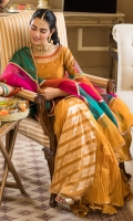 In love with our ancestral style these beautiful self-embossed gharara pants are paired with short shirt decorated with colorful floral bunches, intricate neckline, embroidered borders and detailed sleeves. This beautiful shade of saffron comes with multicolored chatapatti organza dupatta finished with gotta lace all around the edges.