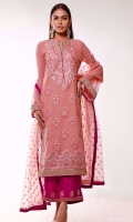 Featuring soft and feminine details, KHAWABEEDA is a straight long kurta with exquisiting embroidered floral neckline and border with touch of golden tilla work on sleeves and border on peachy pink canvas. The beautiful magenta ijaar pants with embroidery at the bottom and pink organza dupatta with embroidered motifs makes this outfit elegant.