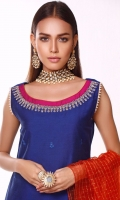Noor is rendered in bold shade of cobalt blue with monotone embroidered daaman along with intricate embroidered border on magenta canvas. Beautifully Embroidered neckline instantly draws everyone's attention to this outfit. It is paired with blue shalwar. You can finish the look with choice of your dupatta.