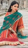 Front Chikankari: 1 Meter Printed Back: 1.3 Meters Printed Sleeves: 0.65 Meters Cotton Trousers: 2.5 Meters Embroidered Khaadi Cotton Dupatta: 2.5 Meters Lace Trims: 1.75 Meters