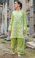Front Chikankari: 1 Meter Printed Back: 1.3 Meters Printed Sleeves: 0.65 Meters Cotton Trousers: 2.5 Meters Printed Chiffon Dupatta: 2.5 Meters Embroidered Neckline on Organza: 1 Piece Lace 1: 1.25 Meters Lace 2: 1.25 Meters