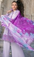 Front Chikankari: 1 Meter Printed Back: 1.3 Meters Printed Sleeves: 0.65 Meters Cotton Trousers: 2.5 Meters Printed Chiffon Dupatta: 2.5 Meters Embroidered Border on Organza: 0.75 Meters