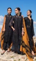 Front Chikankari: 0.8 Meters Back and Sleeves Chikankari: 1.7 Meters Cotton Trousers: 2.5 Meters Khaadi Cotton Dupatta: 2.5 Meters Embroidered Border on Net: 0.75 Meters