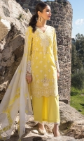 Front Chikankari: 0.7 Meters Back and Sleeves Chikankari: 2 Meters Cotton Trousers: 2.5 Meters Embroidered Khaadi Cotton Dupatta: 2.5 Meters Embroidered Neckline on Organza: 1 Piece Lace Trims: 0.75 Meters