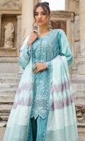 Front Chikankari: 1.1 Meters Printed Back: 1.3 Meters Printed Sleeves: 0.7 Meters Cotton Trousers: 2.5 Meters Khaadi Cotton Dupatta: 2.5 Meters Lace Trims: 1 Meter Chikankari Border: 1.1 Meters