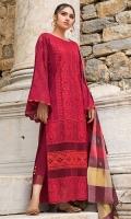 Front Chikankari: 1 Meter Back Chikankari: 1.1 Meter Sleeves Chikankari: 0.65 Meters Cotton Trousers: 2.5 Meters Khaadi Cotton Dupatta: 2.5 Meters Embroidered Neckline on Organza: 1 Piece Lace Trims: 0.75 Meters